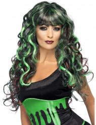 Groen-zwarte zeemeerminnenpruik voor dames