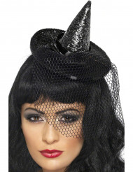 Zwarte mini-heksenhoed voor vrouwen.