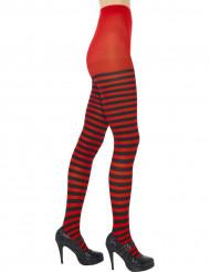 Zwart-rood gestreepte panty voor vrouwen
