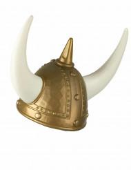 Goudkleurige vikinghelm met horens voor volwassenen