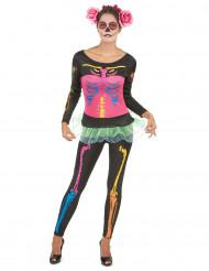 Verkleedkostuum gekleurde skelet voor dames Halloween
