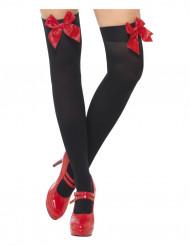 Zwarte kousen met rode strikken voor volwassenen