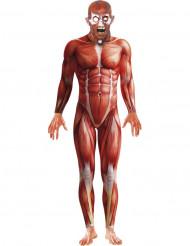 Halloween second skin kostuum met anatomie print