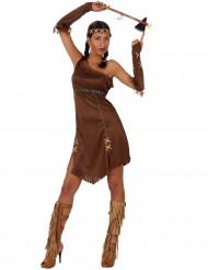 Bruine franjes indianenkostuum voor dames