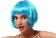 Korte blauwe vrouwenpruik