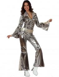 Glinsterend zilverkleurige disco outfit voor vrouwen