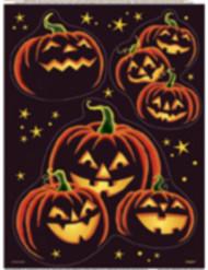 Raamstickers met zwarte pompoenen voor Halloween