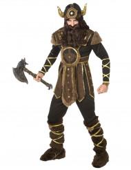 Bruin, zwart en goud Viking kostuum met helm voor mannen