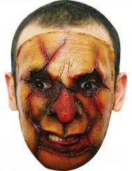 Masker van een moordenaar met een opengereten gezicht voor volwassenen Halloween.