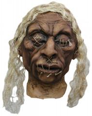 Halloweenversiering voodokop met witte haren
