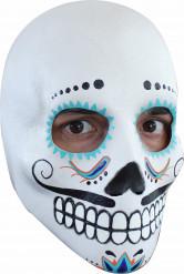 Wit-blauwe Dia de los Muertos masker voor volwassenen