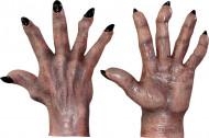 Bruine monsterhandschoenen voor volwassenen Halloween