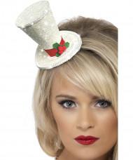 Witte mini-kersthoed voor volwassenen