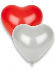 8 rode en witte hartballonnen