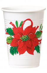8 plastic bekertjes met kerstbloem