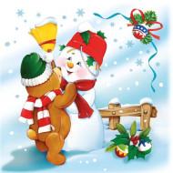 20 kerst servetten met sneeuwpop