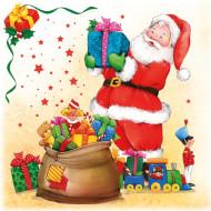 Set papieren servetten kerstman