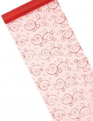 Rode organza tafelloper met glitter arabesken