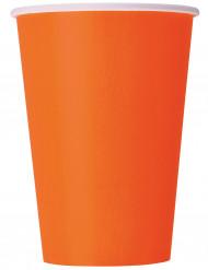 Set oranje wegwerp bekers