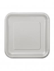 16 kleine zilverkleurige kartonnen borden