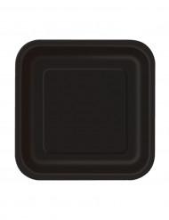 Set vierkant zwarte bordjes van karton