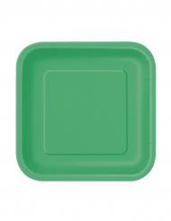 16 kleine kartonnen borden in smaragdgroen.