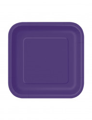 16 paarse vierkant borden 18 cm