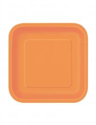 Set oranje vierkante bordjes