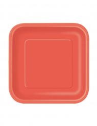 16 kleine rode kartonnen borden