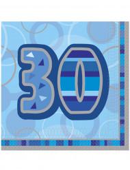 Set van 16 blauwe servetten 30 ste verjaardag