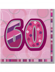 Roze verjaardag servetten 60 jaar