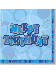 16 blauwe papieren Happy Birthday servetten 33 x 33 cm