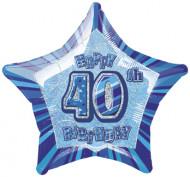 Blauw Happy Birthday ballon 40 jaar