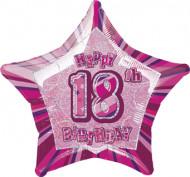 Roze sterren ballon 18 jaar