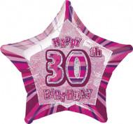 Roze ster ballon 30 jaar