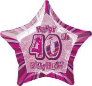 Roze Happy Birthday ballon 40 jaar