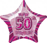 Ster ballon cijfer 50 in het roze
