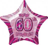 Roze ster ballon 60 jaar