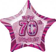 Roze ster ballon 70 jaar