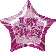 Roze Happy Birthday ballon