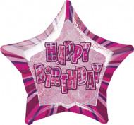 Roze Happy Birthday ballon