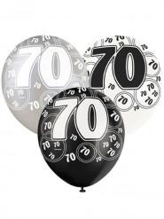 Grijze-witte-zwarte ballonnen 70 jaar