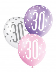 6 roze, witte en paarse 30 jaar ballonnen