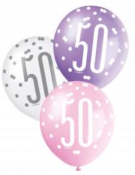 Ballonnen in het roze cijfer 50