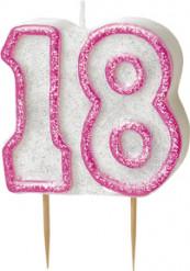 Roze 18 jaar verjaardagskaars