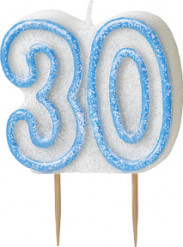 Verjaardagskaarsje 30 jaar blauw