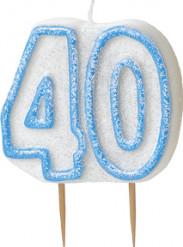 Blauwe 40 jaar verjaardagskaars