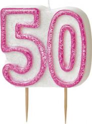 Kaarsen 50 in het roze