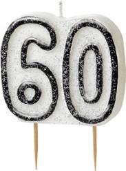 Verjaardagskaarsje 60 jaar grijs