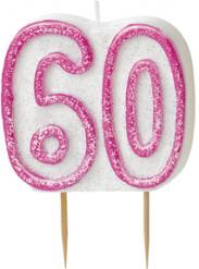 Roze verjaardagskaars 60 jaar